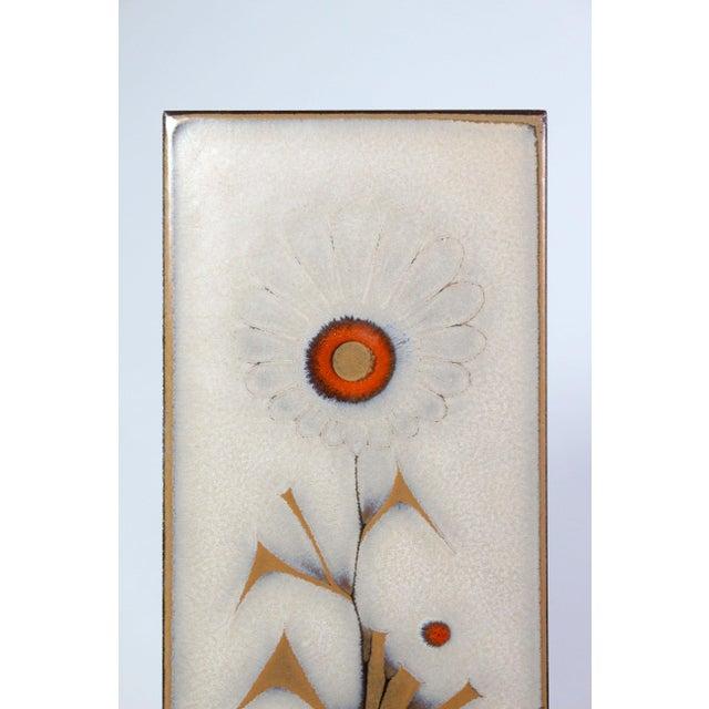 Vintage Mid-Century Italian Glazed Floral Tiles - Set of 5 For Sale - Image 4 of 6