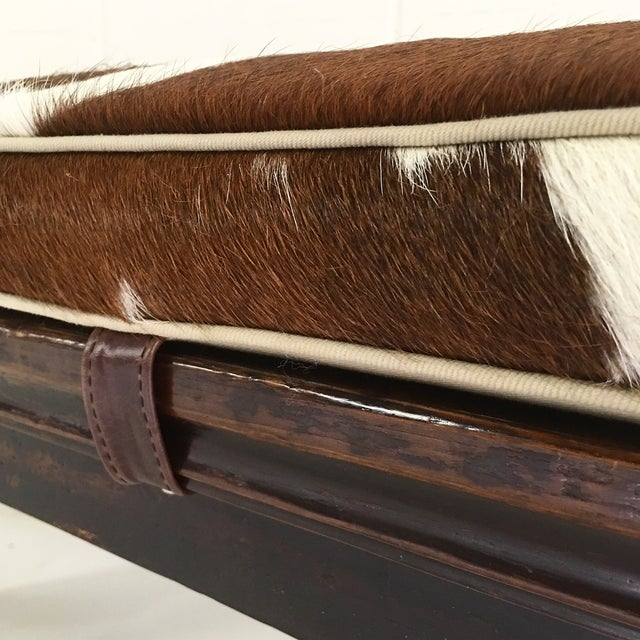 Vintage Chinese Bench with Cowhide Cushion - Image 8 of 8