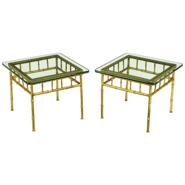"Pair of Italian glazed gilt metal faux bamboo framed side tables with 1/2"" thick radius corner glass tops. Open apron with..."