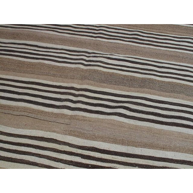 Islamic Striped Kilim Wide Runner in Natural Brown For Sale - Image 3 of 9
