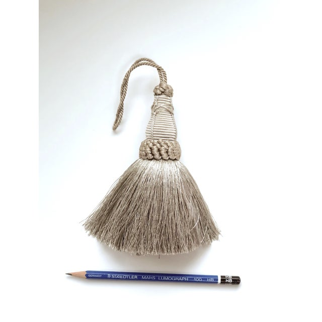 2010s Pair of Key Tassels in Pewter With Looped Ruche Trim For Sale - Image 5 of 11