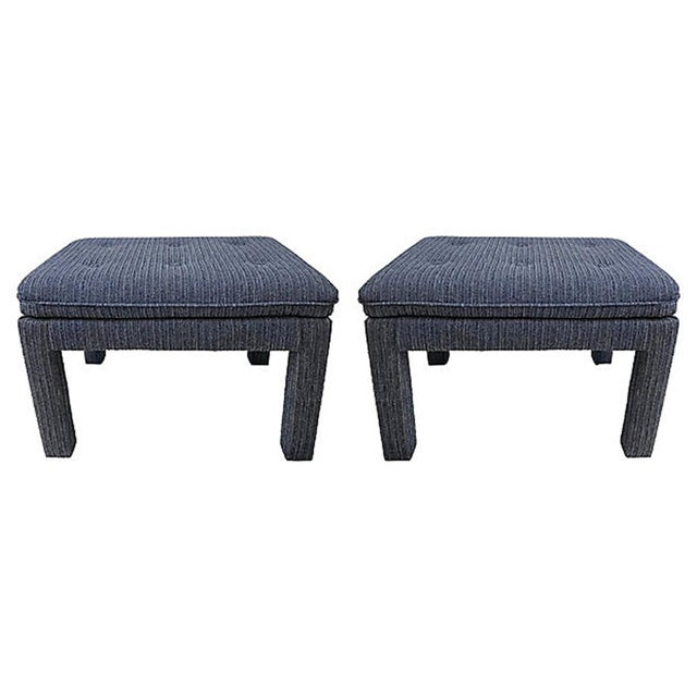 Textile Mid 20th Century Blue Tweed Ottomans - a Pair For Sale - Image 7 of 7