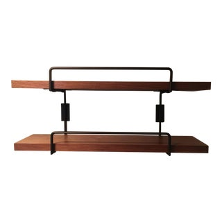 Wall Mounted Wood Shelves With Black Metal Details For Sale