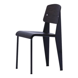 Jean Prouvé for Vitra Standard Chair in Dark Oak and Black Metal For Sale