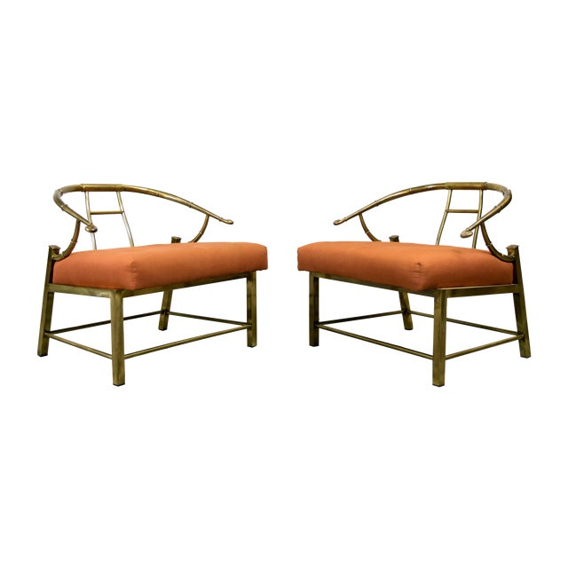 Brass Lounge Chairs by Mastercraft - Pair - Image 1 of 10