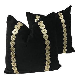 Black Velvet & Antique Down Feather Pillows - a Pair