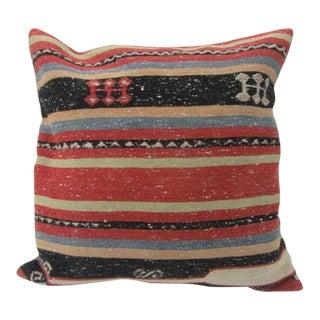 Handmade Vintage Striped Kilim Pilow For Sale