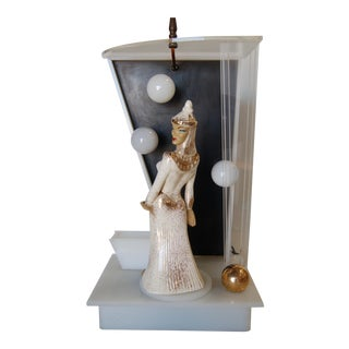 Lucite Table Lamp by Moss Lighting W/ Ceramic Figurine by Hedi Schoop For Sale