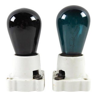 Vintage Red & Blue Light Bulbs & Sockets - A Pair For Sale