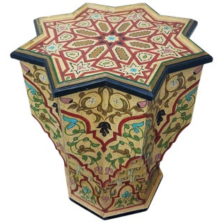 Moroccan Painted and Carved Star Table For Sale