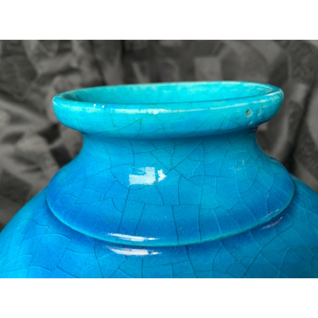 """2010s Large Turquoise """"Egyptian Blue"""" Spherical French Pottery Vase by Edmond Lachenal For Sale - Image 5 of 8"""