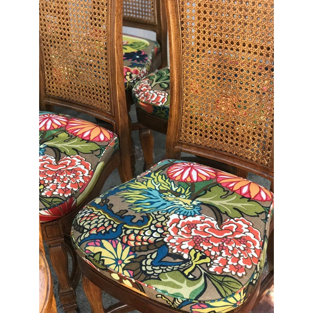 1970s Vintage Cane Back Dining Chairs- Set of 8 With Schumacher Fabric, Chiang-Mai Pattern For Sale - Image 10 of 12