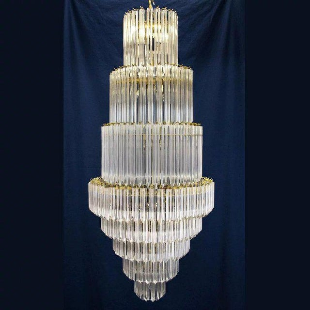 Venini 1960's Lucite Acrylic Cascading Chandelier from the University of Northern Colorado's Grand Ballroom For Sale - Image 4 of 7