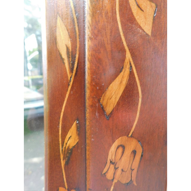19th C. Dutch Marquetry Inlaid Display Cabinet C. 1840 W/ Glass Shelves For Sale - Image 4 of 12