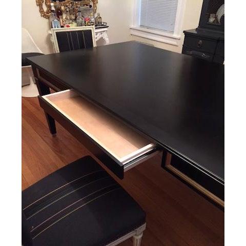 Wood Black Custom Partner Desk For Sale - Image 7 of 9