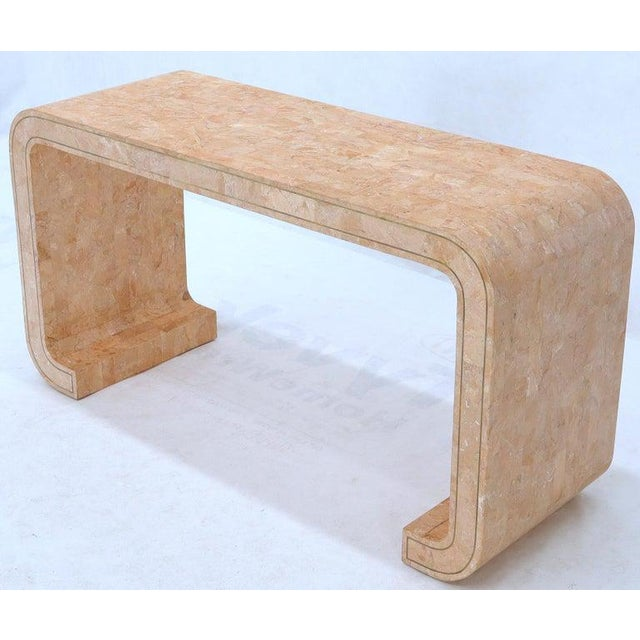 Mid-Century Modern C shape pick and white stone tiles console sofa table.