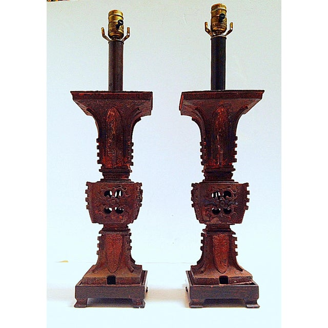 Qing Dynasty Iron Gu Vase Lamps - Pair - Image 2 of 11