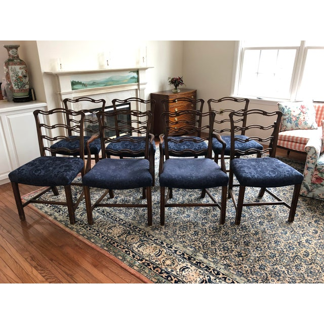Centennial Revival Mahogony Ribbon Back Dining Chairs - Set of 8 For Sale - Image 4 of 4