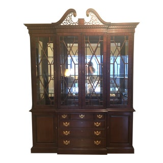 Chippendale Style Breakfront China Cabinet For Sale