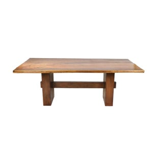 1990s Rustic Grained Walnut Live Edge Slab Dining Table For Sale