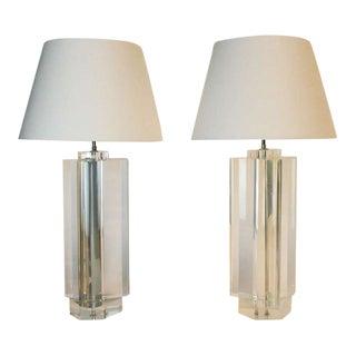 Vintage Trefoil Lucite Lamps by Les Prismatiques - A Pair For Sale