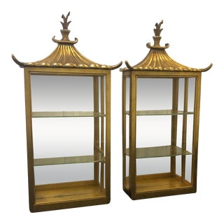 Late 20th Century Pagoda Style Wall Curio Cabinets- a Pair For Sale