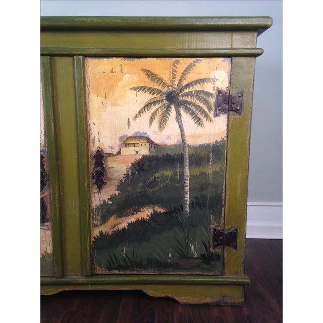 Artiero Brazil Tropical Palm Tree Hand-Painted Credenza Cabinet - Image 2 of 10