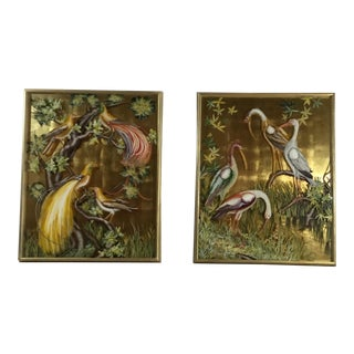 Vintage Reverse Paintings on Glass - A Pair For Sale