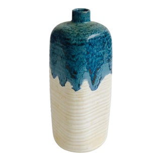 Mid Century Blue and White Pottery Bud Vase For Sale
