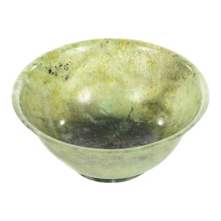 Chinese Vintage Spinach Jade Bowl For Sale
