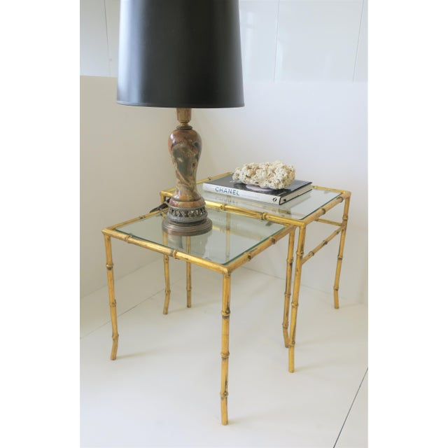 Gold Italian Gold Gilt Bamboo and Glass Nesting or End Tables, Set of 2 For Sale - Image 8 of 12