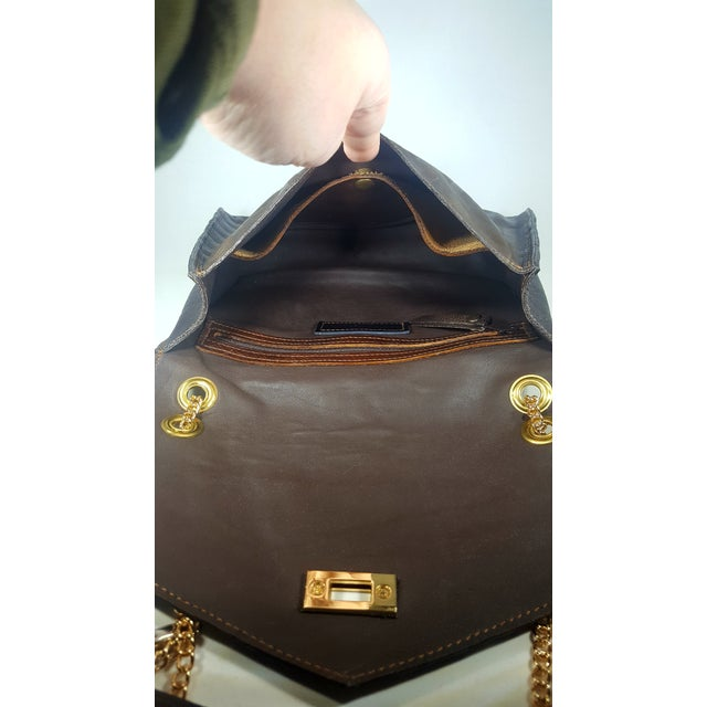 Handcrafted Brown Envelope Embossed Leather Crossbody/ Double Handle Handbag For Sale - Image 4 of 5