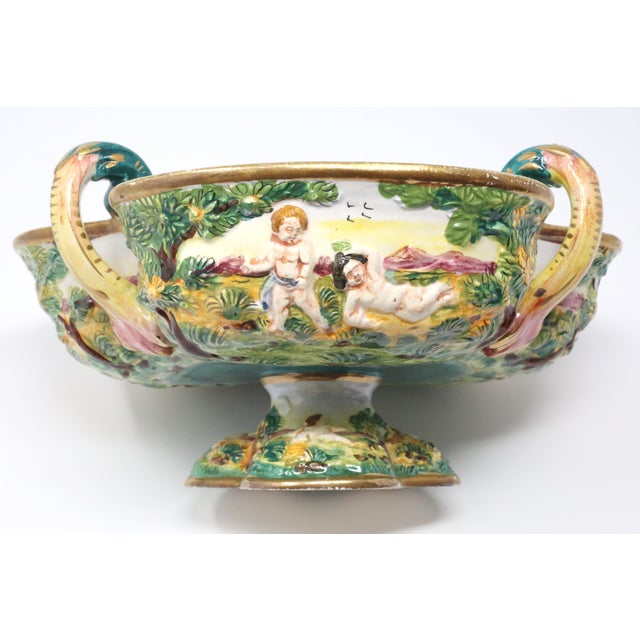 Vintage Italian Capodimonte Clover-Shaped Footed Bowl For Sale In Tampa - Image 6 of 13