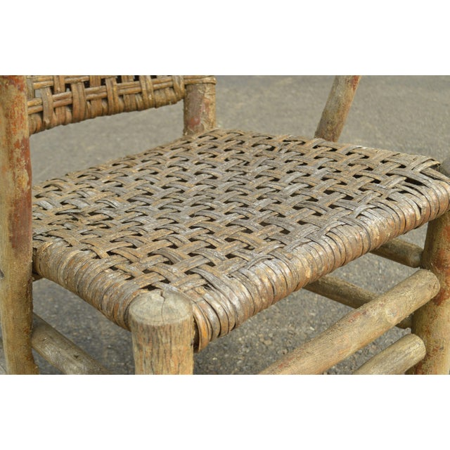 Old Hickory Antique Rustic Armchair & Rocker For Sale - Image 9 of 12