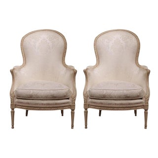 Mid-20th Century French Carved Louis XVI Painted Upholstered Armchairs - a Pair For Sale