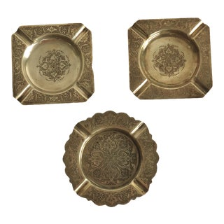 Vintage Persian Silver Ashtrays - Set of 3