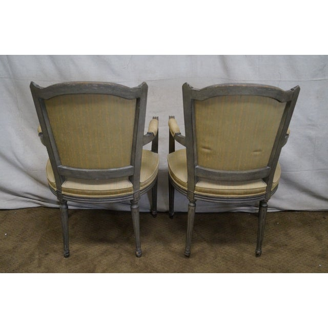 Vintage Painted French Louis XVI Style Dining Chairs - Set of 6 - Image 4 of 10