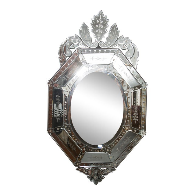 20th Century Octagonal Etched Venetian Mirror For Sale