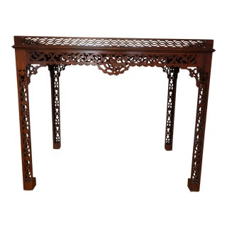 Baker Furniture Chippendale Style Mahogany Table With Pierced Fretwork For Sale