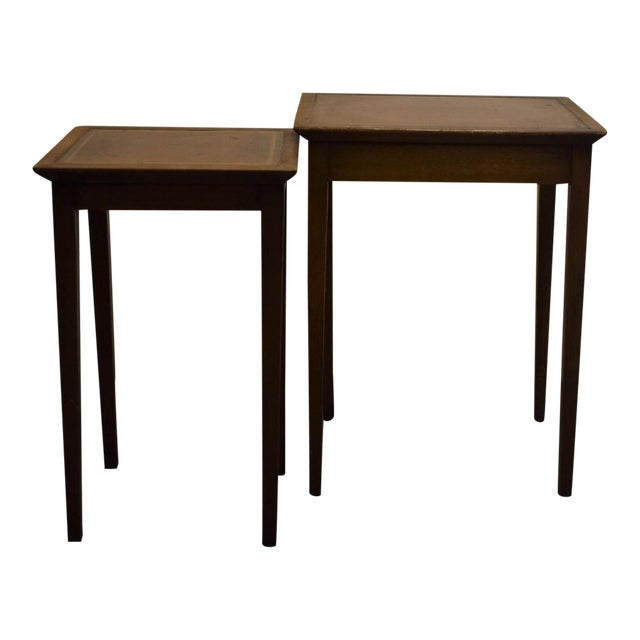 leather top english stacking side tables a pair - Leather Side Tables