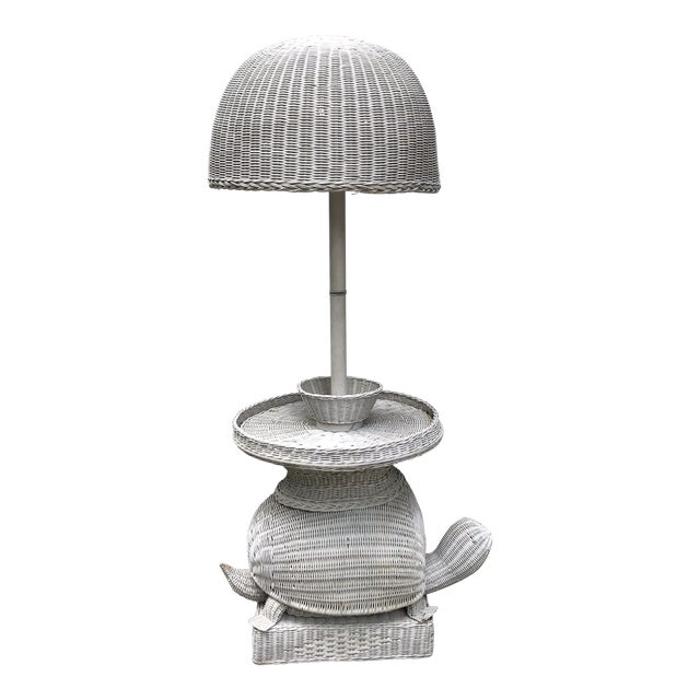 Palm Beach Style Wicker Turtle Floor Lamp with Small Table and Matching Shade For Sale