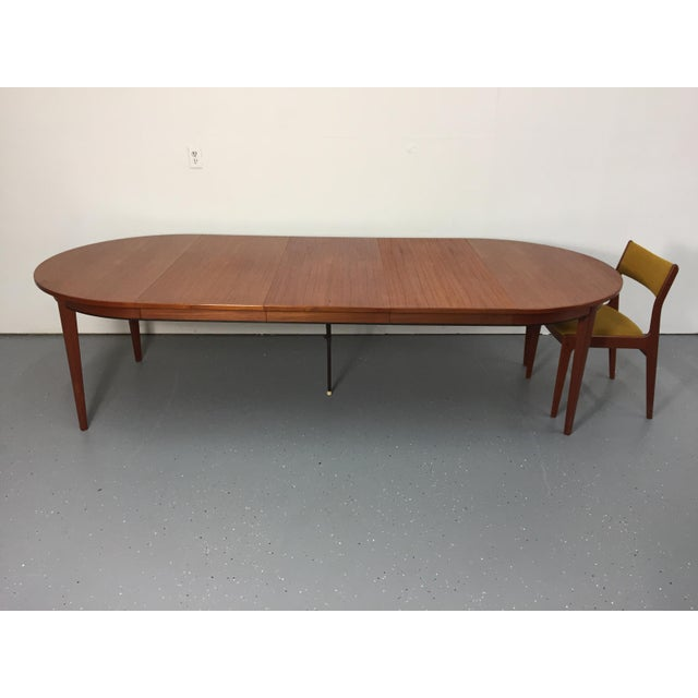 Danish Modern Solid Teak Expandable Dining Table - Image 8 of 11