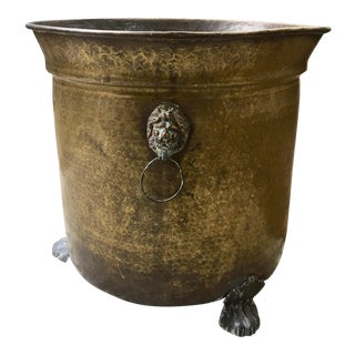 Brass Footed Lions Head Planter For Sale