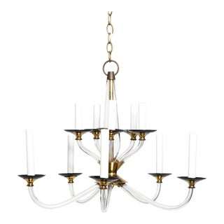 1970s Lucite and Brass Chandelier by Lightolier For Sale