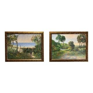 Mid 20th Century Florida Seascape Oil Paintings by Vladimir Ctibor, Framed - a Pair For Sale