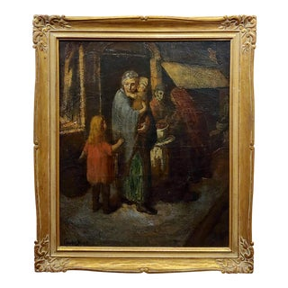 Claude Buck -1940s Stranded Family With Children-Regionalist Oil Painting For Sale