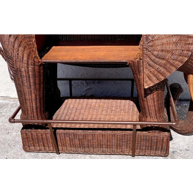 1960s Chinese Export Wicker Elephant Dry Bar For Sale - Image 12 of 13