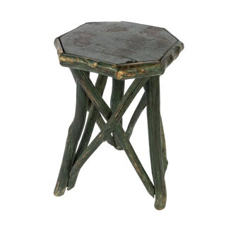 Primitive Green Painted Octagonal Cornish Hedgerow Table, English Circa 1860 For Sale