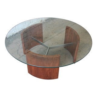 "Vladimir Kagan ""Radius"" Mid-Century Walnut & Steel Cocktail Table"