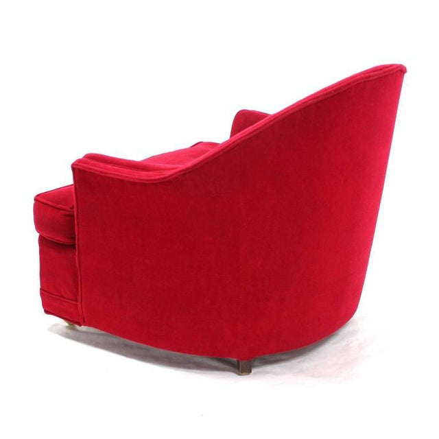 Early 20th Century Red Upholstery Barrel Scallop Shape Back Lounge Chairs - A Pair For Sale - Image 5 of 10